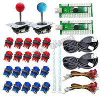 2 Players DIY Arcade Joystick Kits With 20 LED Arcade Buttons + 2 Joysticks + 2 USB Encoder Kit + Cables Joystick Arcade Set