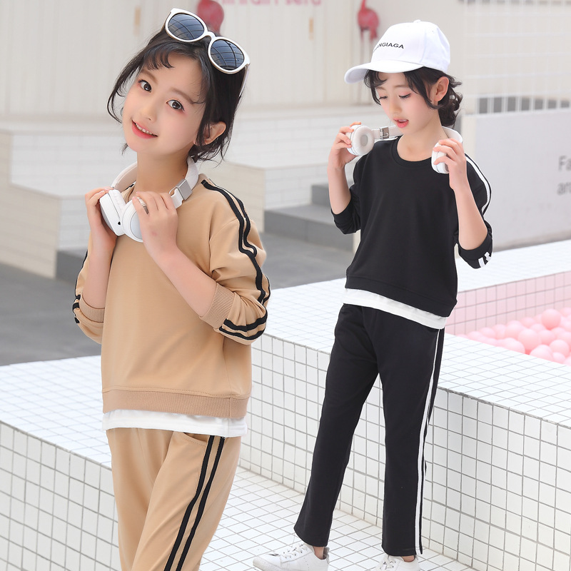 Kids Girls Clothes Sports Long Sleeves Baby Clothing Stripe Cotton T Shirt+Pants 2 pcs Autumn Spring Girls Clothing Set keaiyouhuo newborn baby spring autumn girls clothes set rabbit cotton coat pants 2pcs set kid 0 2y girls pure clothes clothing