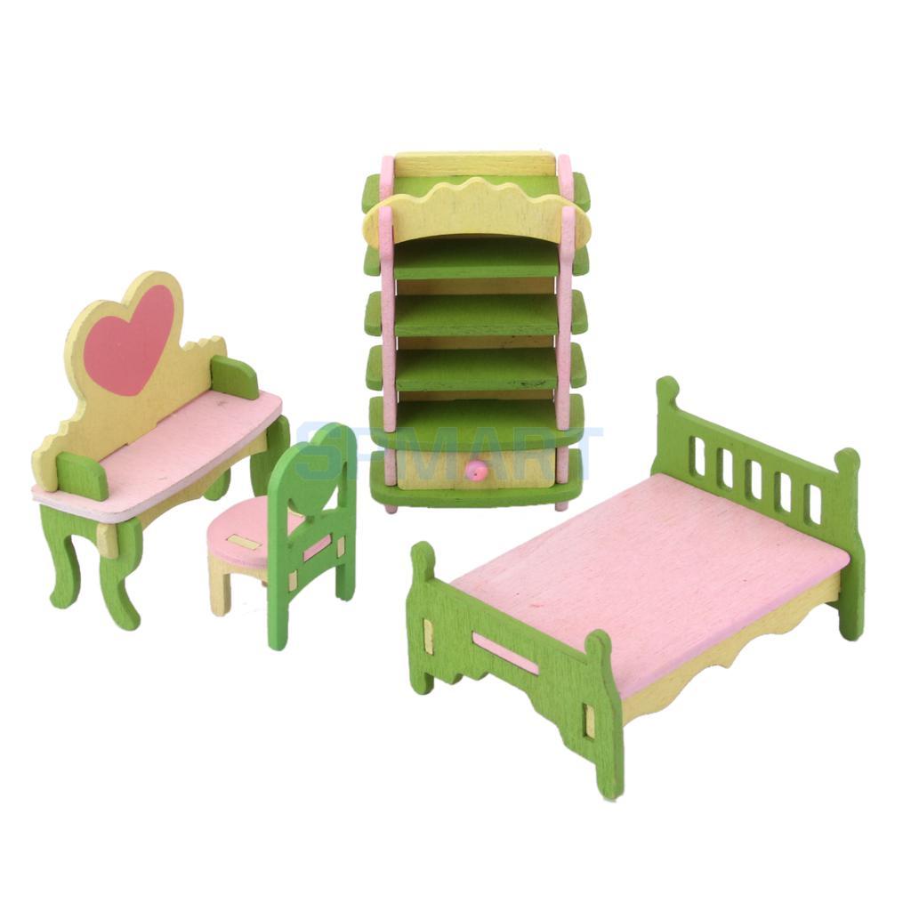 Кукольный домик мебелью деревянные игрушки для детей Спальня комплект ...