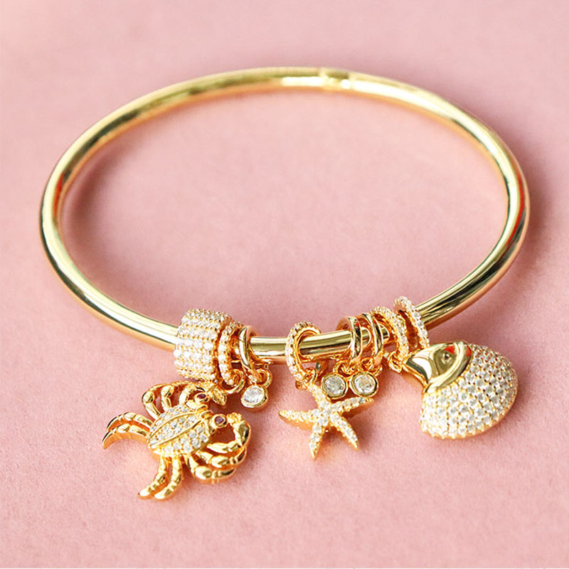 SLJELY 925 Sterling Silver Gold Color Sea Creatures Bangle with Crab Shell Star Micro Cubic Zirconia