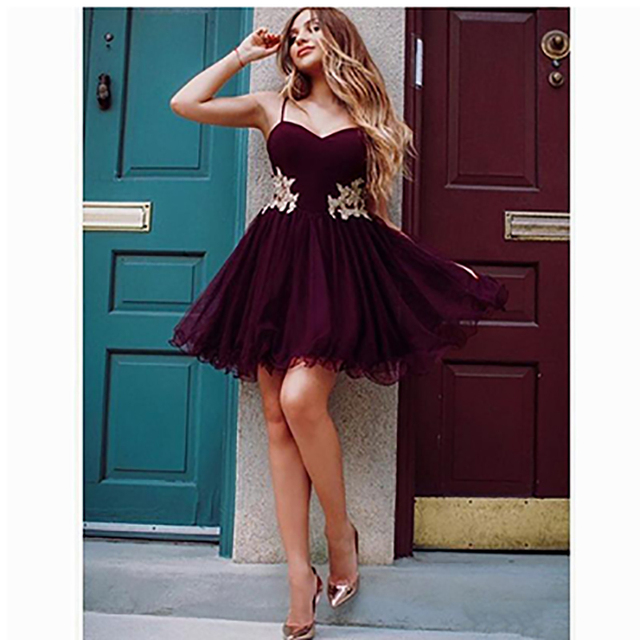175e9b4bb Corto vestidos de fiesta para niñas cariño raso sin mangas correas volantes  corto Mini graduación vestido las