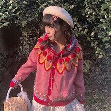 น่ารักJacquard Hoodedเสื้อสเวตเตอร์ถัก 2018 ฤดูหนาวHand Hook 3Dดอกไม้ลูกบอลDotรูปแบบเรขาคณิตCardiganเสื้อกันหนาวChristmas