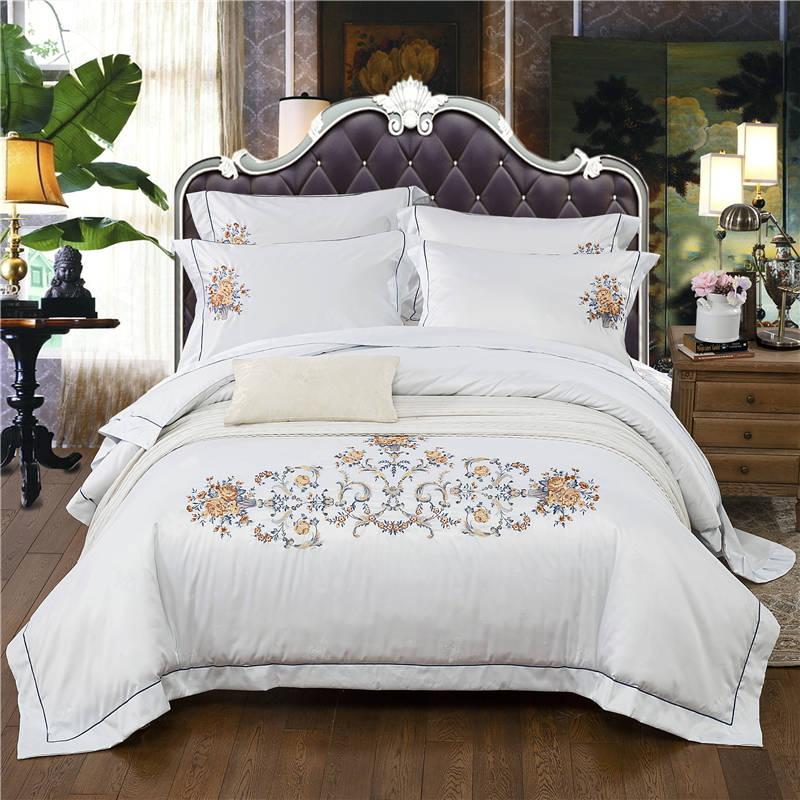 queen king size bedspread new 4pcs jacquard white bedding set silk duvet cover flat sheet pillowcase euro bed linen