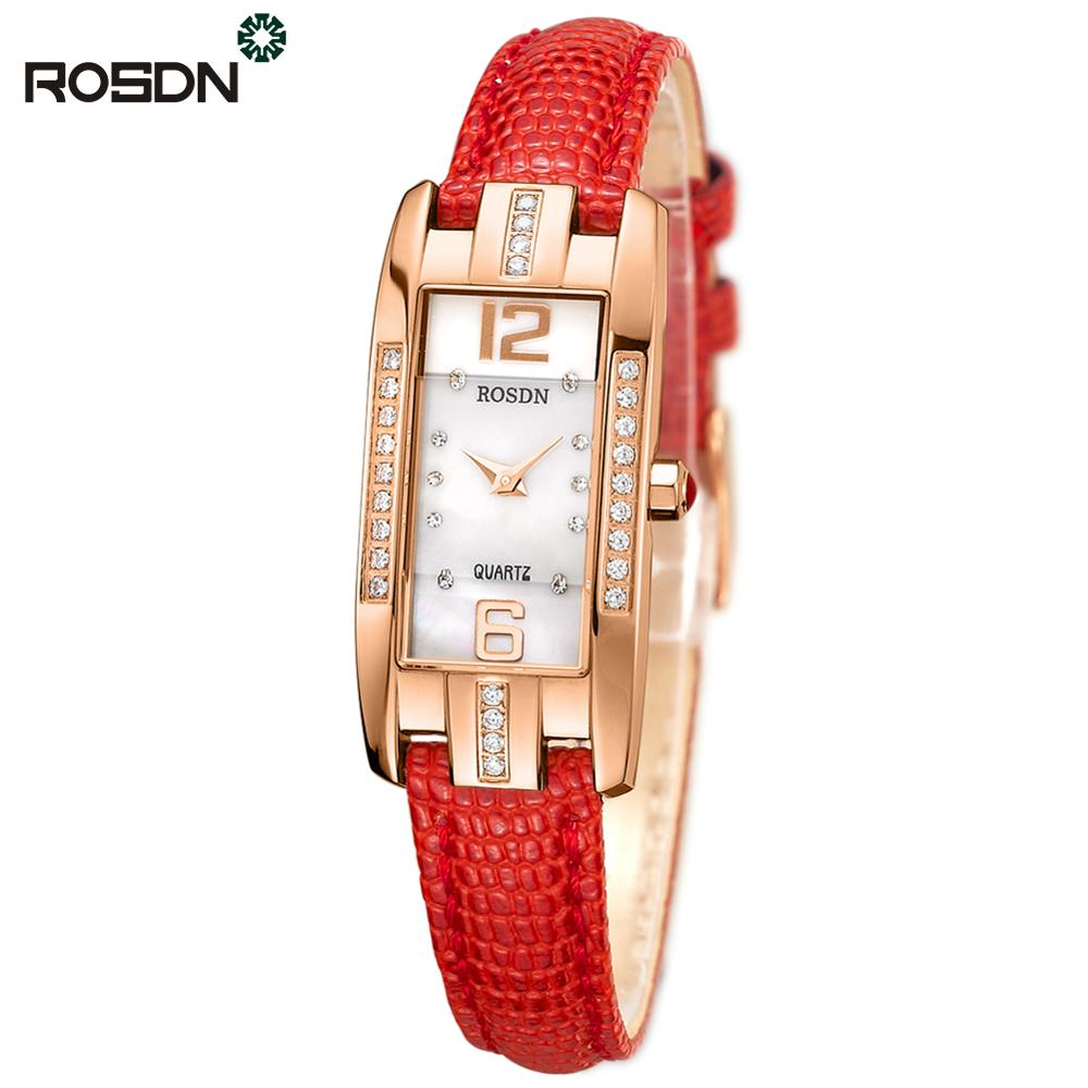 ROSDN Brand Women Watches Leather Strap Rose Gold Watch Classy and Feminine Rectangular Watches Dress Quartz Wrist Watches
