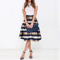 NELLBANG New Arrival Sexy Women S Stretch Natural Waist Pleated Striped Printed Casual Knee Length Skirt
