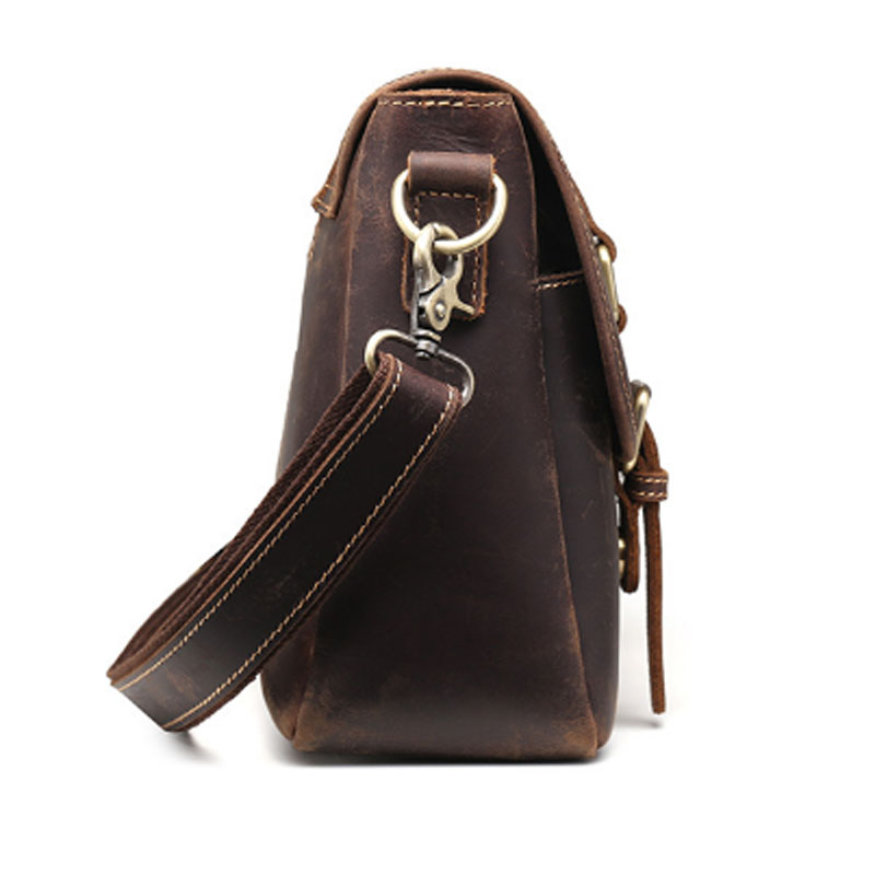 Crazy Horse Koeienhuid Cross Body Tas Mannen Tas Business Messenger Aktetas Reizen Casual Vintage Schoudertas Lederen Tas - 4