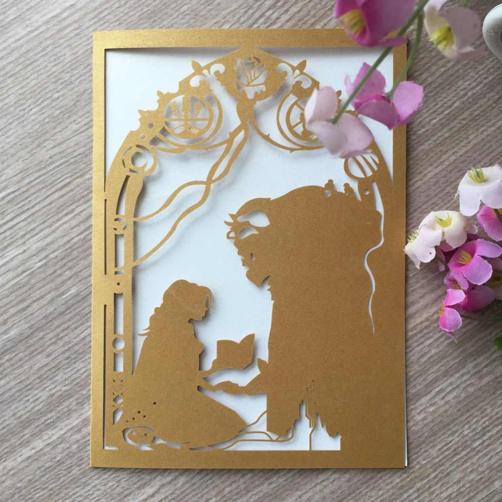 50pcs/lot Delicate Pearl Paper Laser Cut Beauty And Beast Theme Invitations  Card Wedding Decorations Birthday Card Party|Cards & Invitations| -  AliExpress