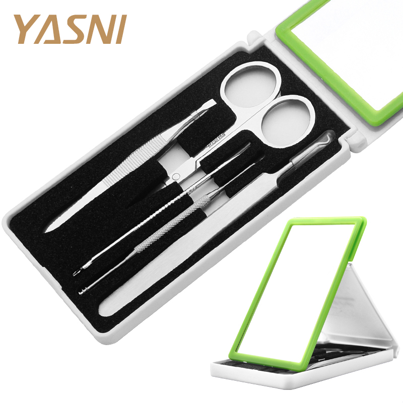 5pcs Manicure Set Scissor + Tweezers  + Ear Pick + acne needle + Mirror Stainless Steel Nail Care Tool Sets gift MS03 nail clipper cuticle nipper cutter stainless steel pedicure manicure scissor nail tool for trim dead skin cuticle