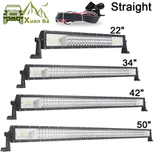 цена на 22 42 50 Inch 3 Row LED Light Bar Straight LED Work Light Barra Offroad Combo Beam 4X4 4WD ATV SUV Boat Truck Trailer Camper