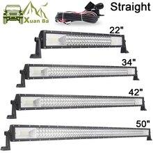 """22 """"42"""" 50 """"pouces 3 ligne de lampes LED barre droite LED lumière de travail Barra Offroad Combo faisceau 4X4 4WD ATV SUV bateau camion remorque campeur"""