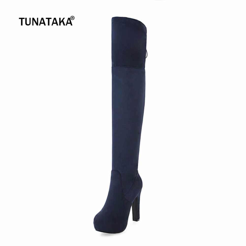 b36740bed7b ... Faux Suede Thigh Boots Thick High Heel Thigh Boots Fashion Platform  Side Zipper Over The Knee ...