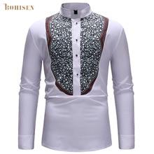 BOHISEN African Print Men Tops T-shirt Dashiki White Long Sleeve Slim Stand Collar Male African Clothes Formal Dress недорого