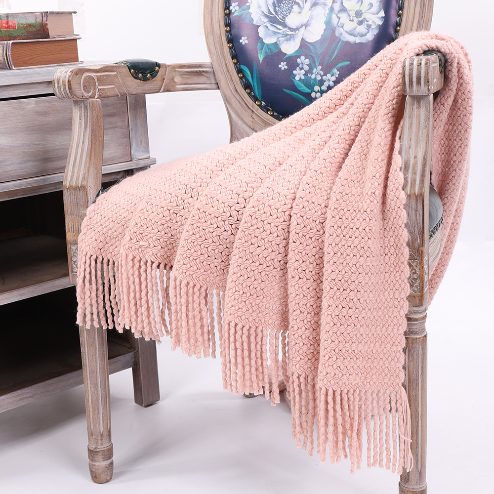 Battilo Wheat Knit Tassel Throw Blanket For Couch Sofa Bed Home Dcor Soft Warm Lightweight Blanket 51