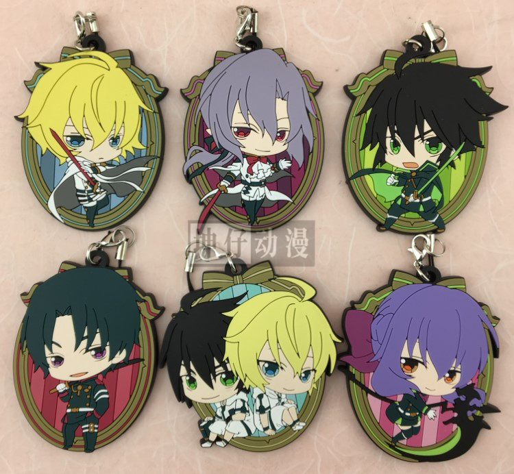 Seraph Of The End Owari No Seraph Anime KG Ver Yuichiro Hyakuya Hiiragi Shinoa Hiiragi Shinya Rubber Keychain hot sell free shipping seraph of the end krul tepes pink long clip ponytail cosplay party wig hair