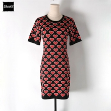 2018 New Slim Basic Knitted Sweater Dresses Women Pleated Heart Pattern Knit Floral Casual Dress Autumn Spring Knitwear Vestidos