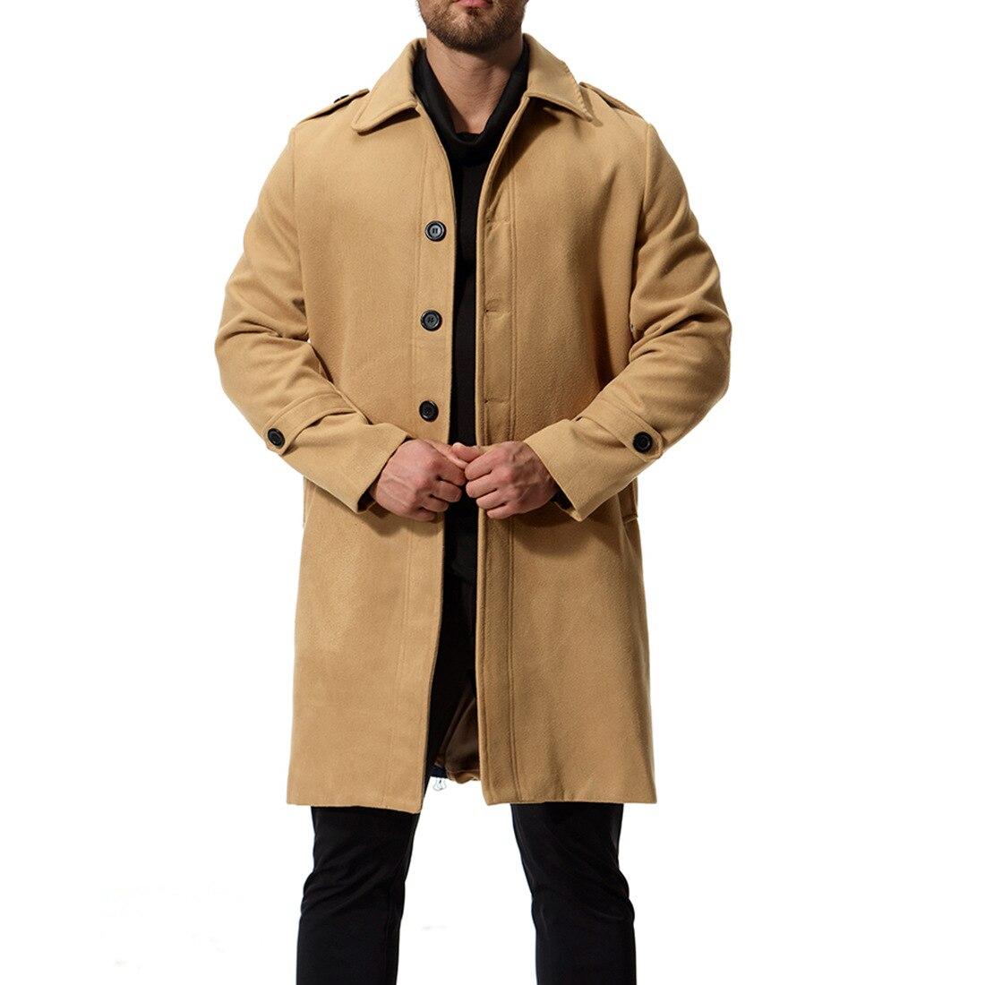 2018 hiver solide noir gris hommes manteau décontracté simple boutonnage Long manteau noir hommes col rabattu Slim à manches longues veste