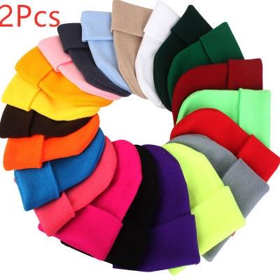 2Pcs Women Knit Neon   Beanie   Men Hip Hop Candy Color Cotton Knit Caps   Skullies     Beanies   Crochet Hats Soft Caps Color Random