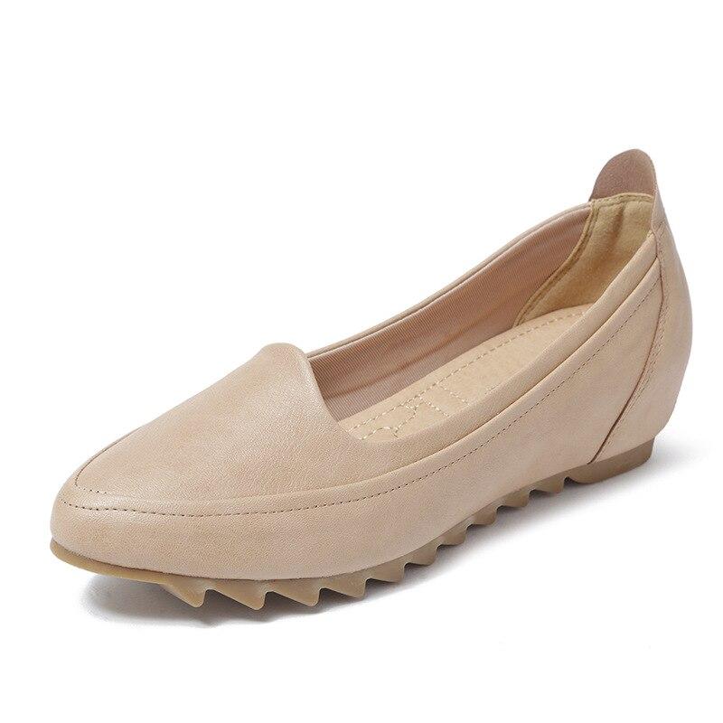 Enceinte De Anti rouge Doux Femmes gris Printemps Femme Pois Taille Apricot Plat Plates D'âge Moyen Chaussures Confortable Grande Bureau noir dérapage Automne xOq8qw1