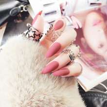 Stiletto fake Nails with glue Long size Pointed Solid color Diy Nail Art 32 Styles press on nails Tips Accessory 24 PCS