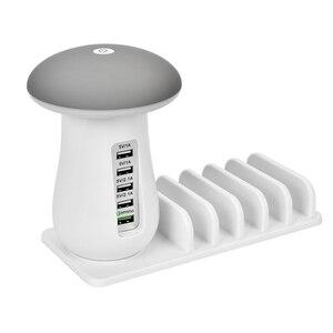 Image 5 - Soporte multifunción para teléfono móvil con 5 puertos, Cargador USB, lámparas LED tipo Seta, soporte para teléfono de escritorio para Iphone y Samsung