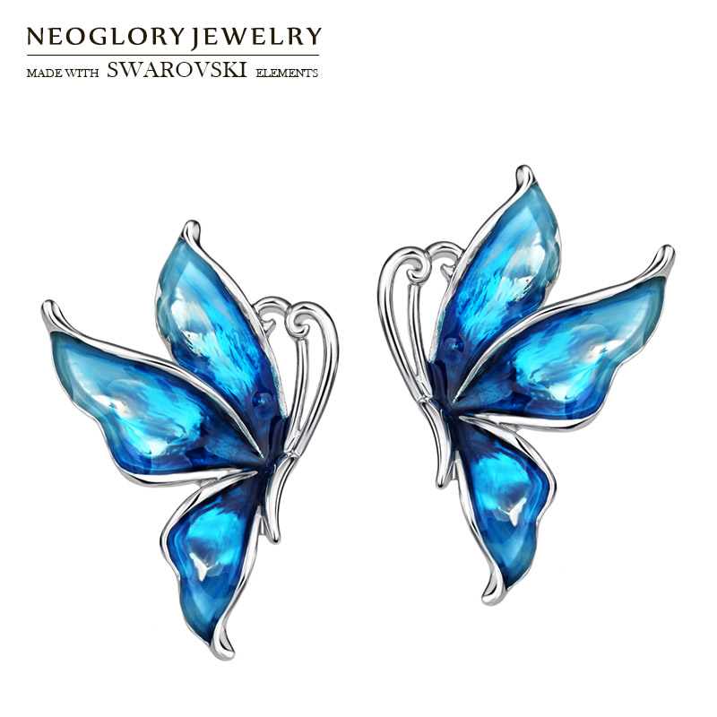 Neoglory Enamel Stud Earrings Romantic Love Blue Butterfly Cute Daily Style For Women Trendy Classic Sale Gift Holiday Summer