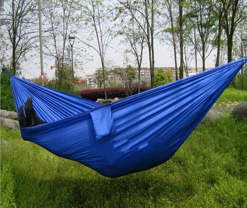 Portable Outdoor Leisure Traveling Camping Parachute Nylon Fabric Parachute  Hammock for Two Person 8 Colors High Quality thicken canvas single camping hammock outdoors durable breathable 280x80cm hammocks like parachute for traveling bushwalking