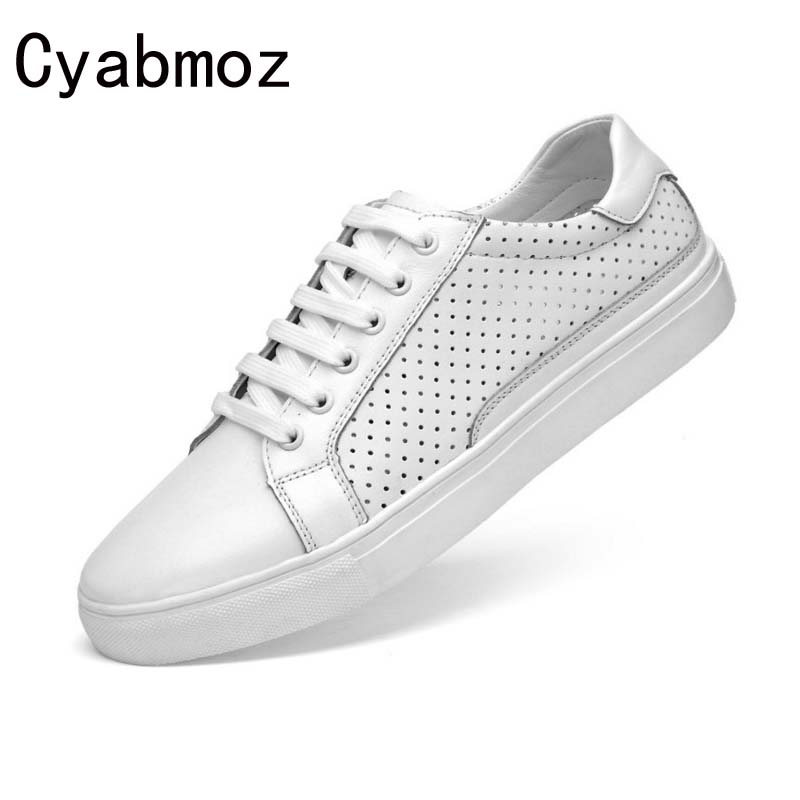 Cyabmoz 2017 new fashion style genuine leather casual summer shoes for men high quality leisure breathable shoes flats hole shoe grimentin fashion 2016 high top braid men casual shoes genuine leather designer luxury brand men shoe flats for leisure business