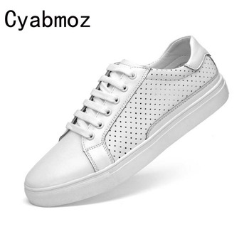 Cyabmoz 2017 new fashion style genuine leather casual summer shoes for men high quality leisure breathable shoes flats hole shoe
