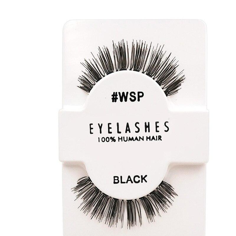 Handmade 1 pair real human hair full strip natural false eyelashes trendy daily lashes extension for professionals
