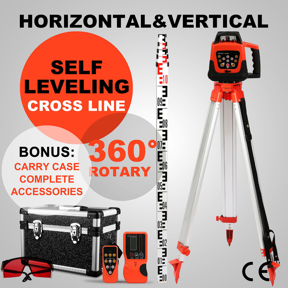 500M Laser Level Rotating Rotary Laser Level Red Beam Auto Self Leveling Cross Line+Tripod+Staff
