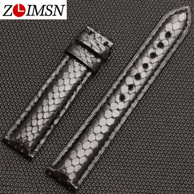 где купить ZLIMSN Python Grain Genuine Leather Watch Bands Strap 18 20mm Black Brown Watchbands Belts Butterfly Buckle Silver Gold Black по лучшей цене