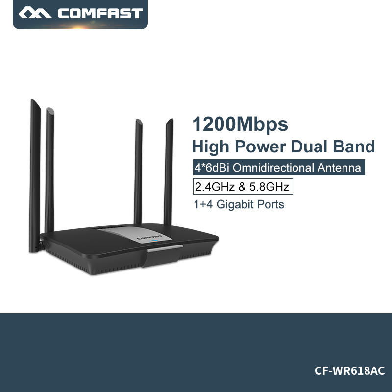 High Power 1200mbps Wlan Wireless Wifi Router 5ghz WiFi Repeater Wifi Extender 4*6dbi Antenna Wifi Amplifier Comfast CF-WR618AC edup 1200mbps wireless wifi router 2 4 5ghz high power wifi repeater english version wifi range extender wlan wi fi amplifier