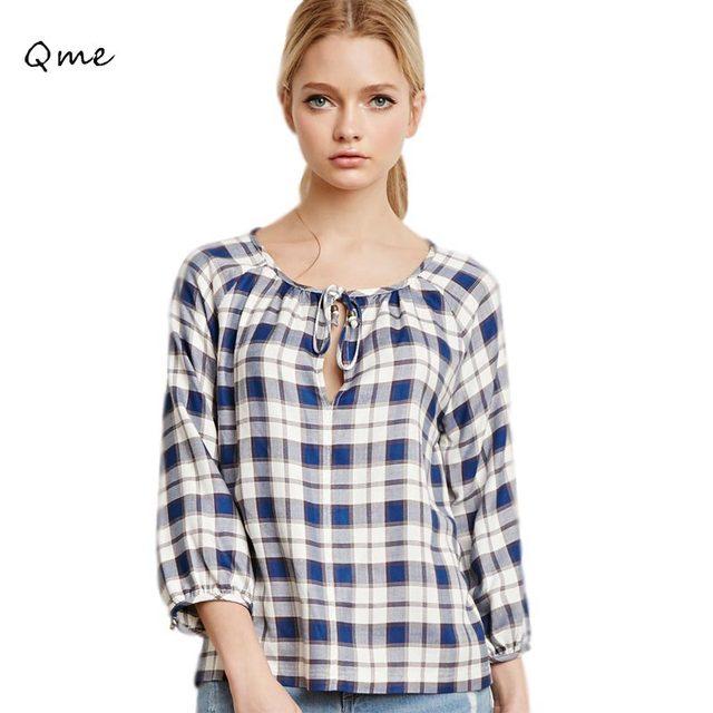 36bcac704362 Women shirt blouses plaid shirt women tops O-neck blusas y camisas mujer  online clothing store abbigliamento donna WD722