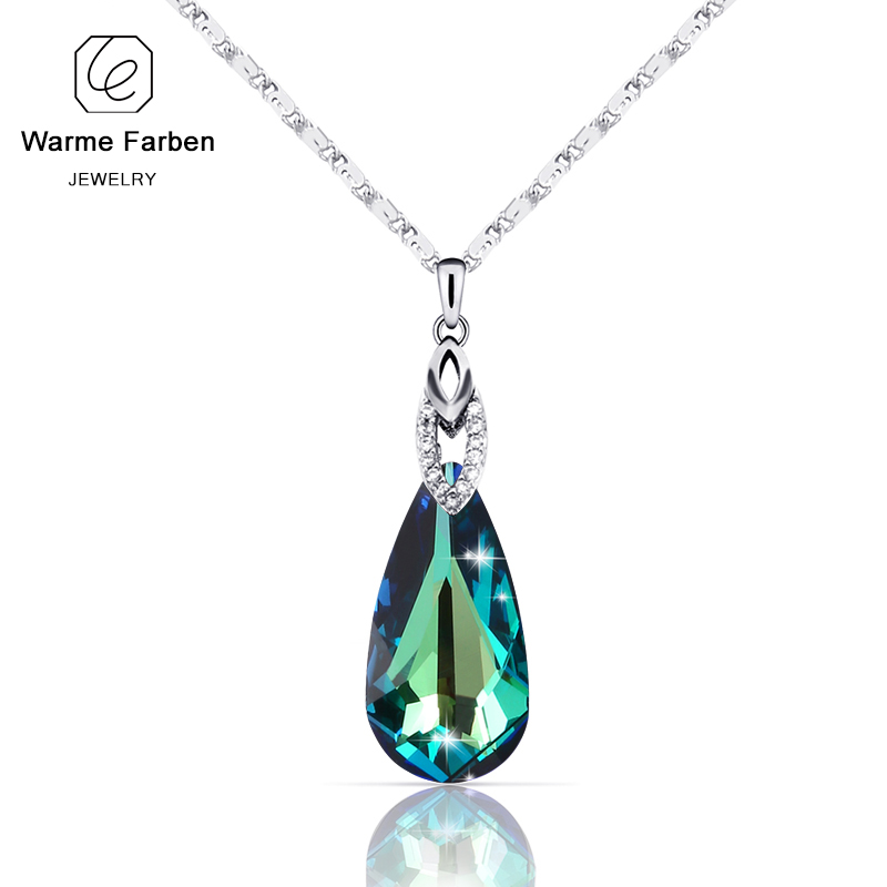 WARME FARBEN Crystal from Swarovski Women Pendants Necklaces Water Drop Shaped Necklace Silver Jewelry Collares with Link Chain