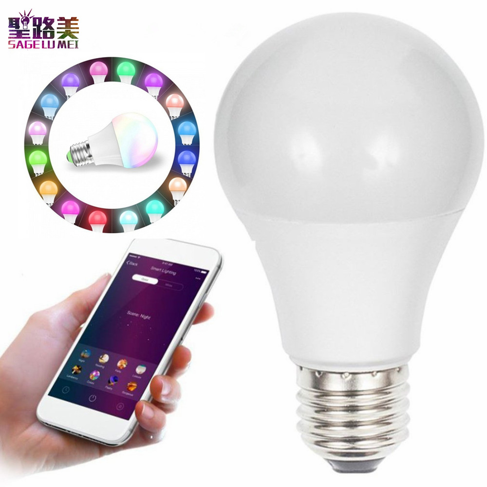 AC 110V 220V 4.5W WIFI RGBW Smart LED Light Bulb Phone Control Lighting Lamp Color Change Dimmable LED Bulb for Android IOS APP