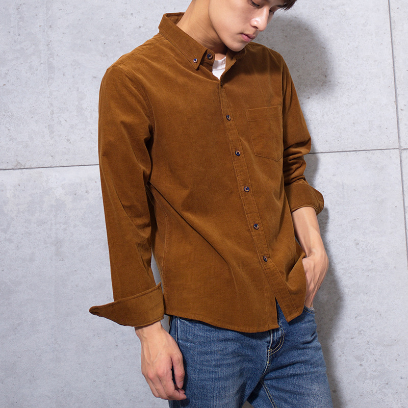 100% Cotton Vintage Corduroy Dress Shirt Men Slim Fit New Casual Shirts Mens Brand Long Sleeve Clothes Camisa Hombre TS-381 3