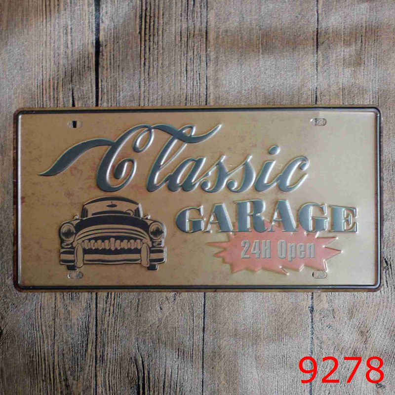 LOSICOE Vintage license plate GLASSIC GARAGE Metal signs home decor Office Restaurant Bar Metal Painting art 15x30 CM