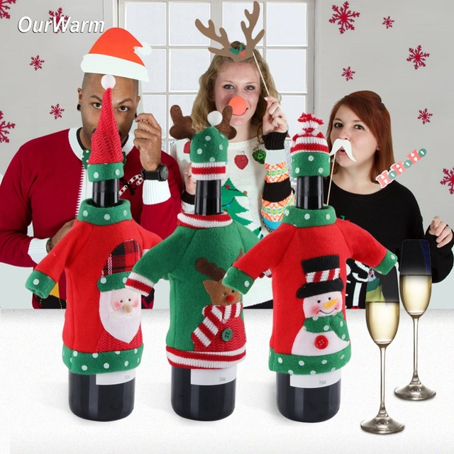 ourwarm ugly sweater wine bottle cover christmas decoration for home santa claus snowman reindeer bottle cover