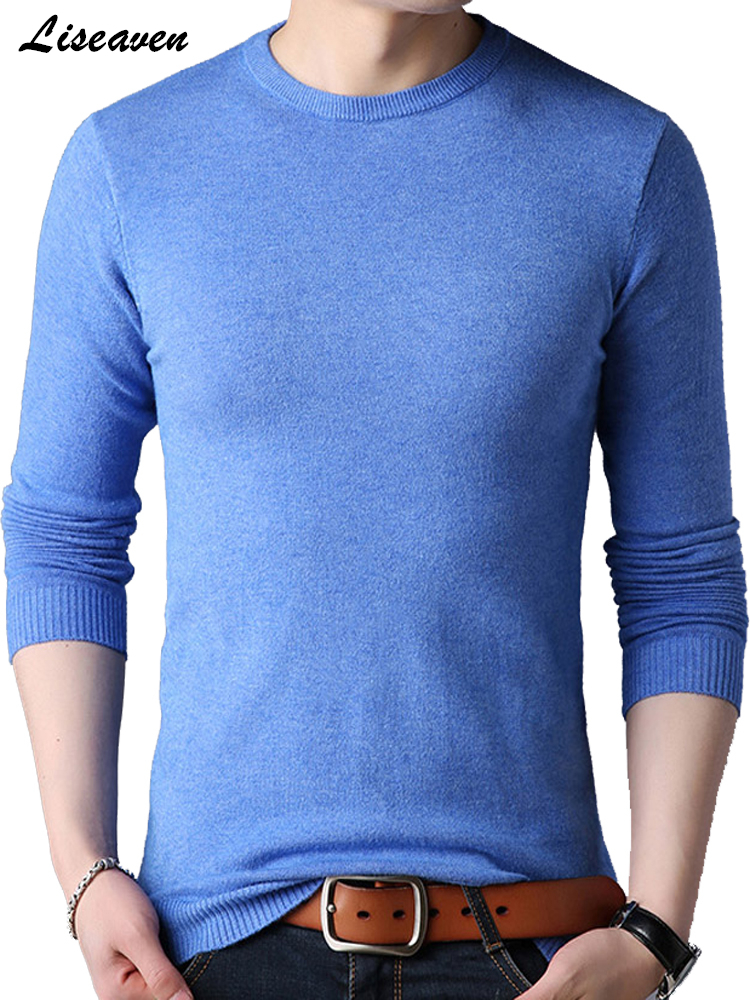 Liseaven Solid Color Sweaters O-Neck Men Pullovers Spring Autumn Men's Casual Sweater Mens Cothing