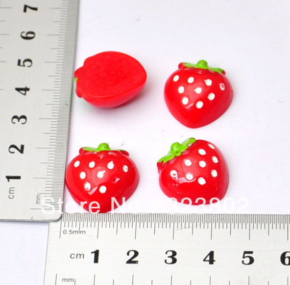 20MM Red Strawberry Flatback Resin Cabochons for Cell Phone Case Decoration Accessory 48PCS