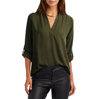 New Women Sexy Blouse Shirt Open Shoulder Shirt Loose V Neck Ladies Sexy Tops Plus Size