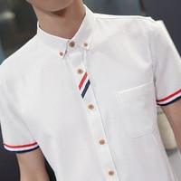 men 2019 Summer Solid Color Men's Short Sleeve Shirt Fashion Casual Men's Shirt Slim Youth Shirt