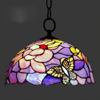 12 Inch Flesh Country Flowers Butterfly Tiffany Pendant Light Stained Glass Lamp For Bedroom E27 110