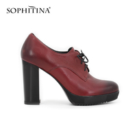 SOPHITINA Wine Red Dark Blue Cow Leather Pumps Lace Up Working Dress Thick High Heel Autumn
