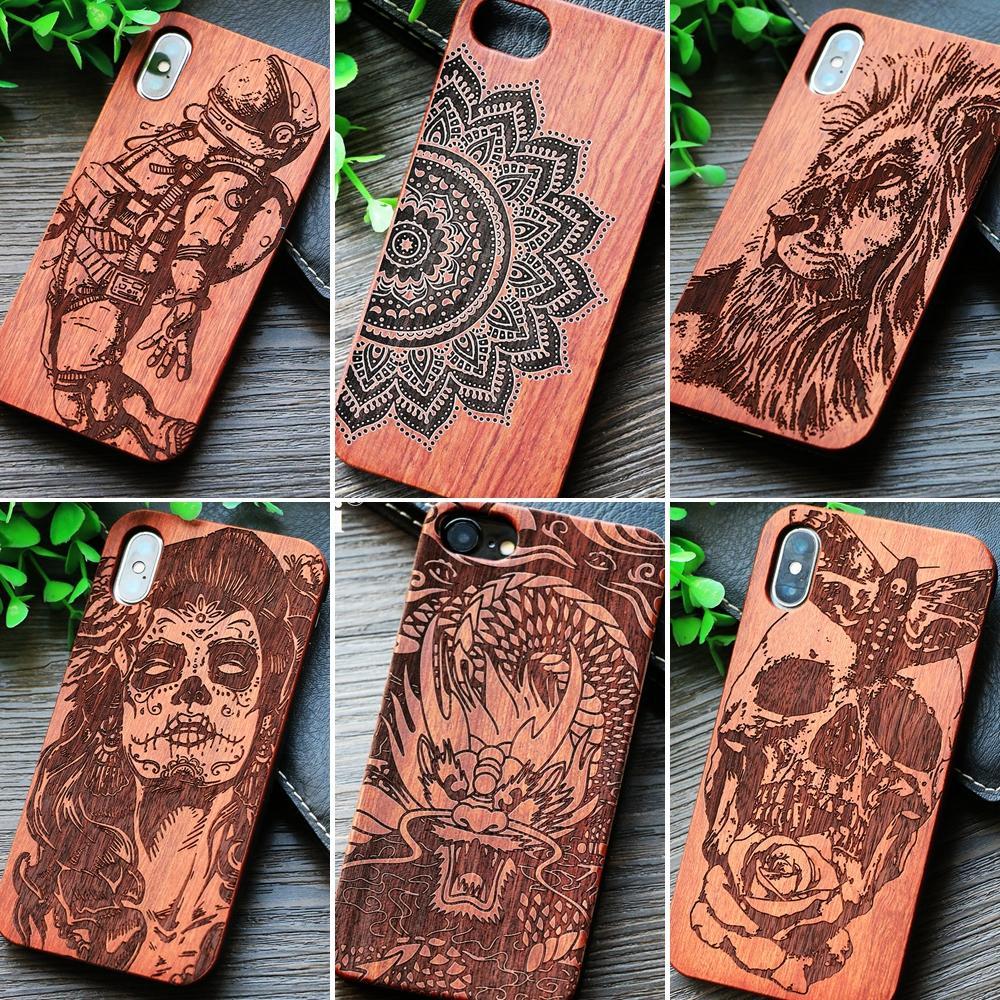 Mandala Holz Telefon Fall Für iPhone 6 6 S 7 8 Plus X XS MAX XR Für Samsung Galaxy S7 rand S8 Plus Hinweis 8 9 Telefon Fall Holz Abdeckung