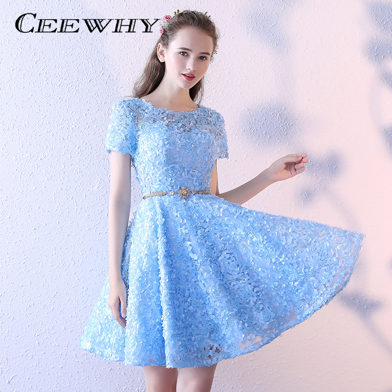 CEEWHY Light blue O Neck Short Formal Party Dress with Belt Short ...