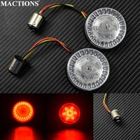 Motorcycle 1157 Amber/Red LED Lens Turn Signal Light For Harley Touring 14 17 Sportster Dyna 12 17 Softail 11 17 Models