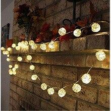 Decorative-Lights Rattan-Balls Patio Outdoor Garland Fairy-String Led Christmas Wedding