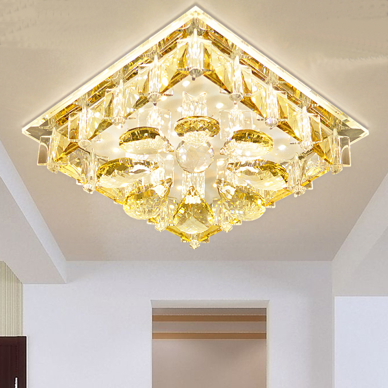 Square LED crystal ceiling lamps porch aisle lights living room ceiling lighting for bedroom dining room rectangular europe living room crystal lights led ceiling lamps bedroom modern minimalist dining room lighting high quality