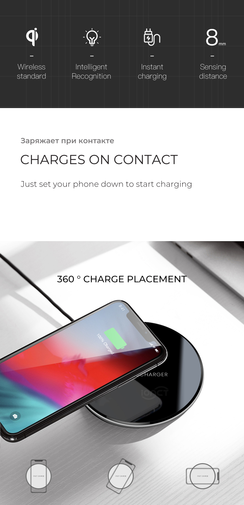 iONCT 15W qi Wireless Charger pad for Cellphones